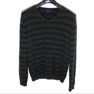 Marc Anthony Striped Pure Cashmere V Neck Sweater